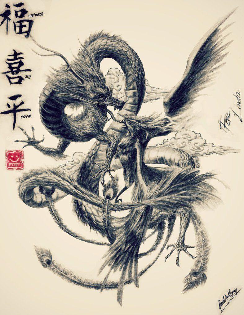 Dragon vs Phoenix by ArtfulBeast | tattos | Pinterest | Tatuajes ...