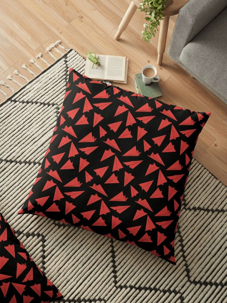 Paper Planes Pattern | Black and Red Floor Pillow