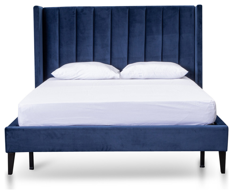 Hillsdale Queen Bed Frame Navy Velvet Contemporary Bed