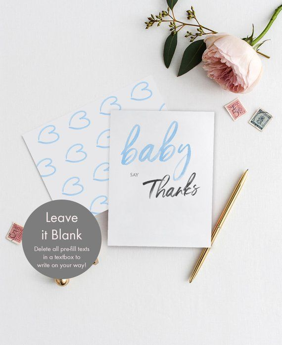 It S A Boy Baby Shower Thank You Card Template Instant Download
