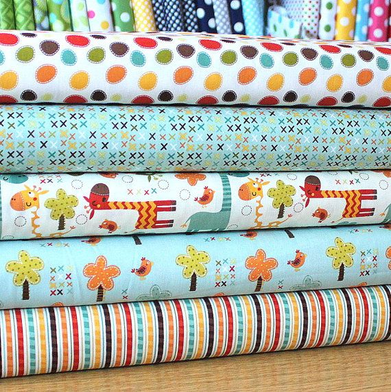 Teal Red Green and Brown Giraffe Cotton Fabric, Giraffe Crossing By The Riley Blake Designers, Fat Quarter Bundle, 5 Prints Total