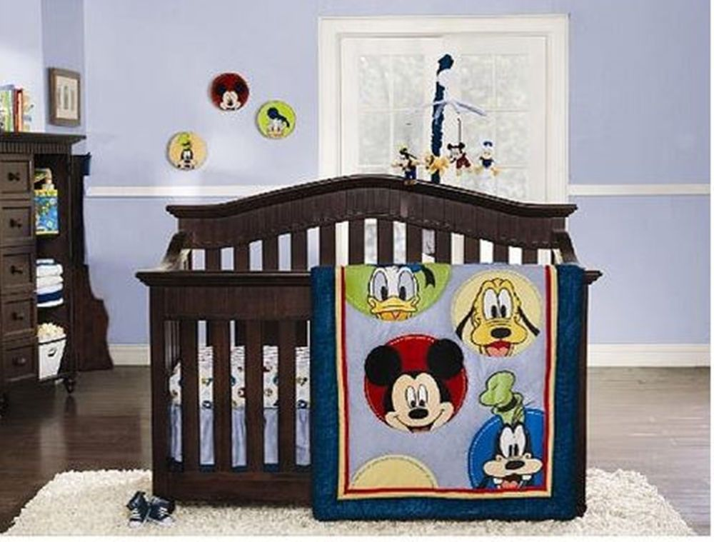 Disney Mickey Mouse U0026 Friends 8 Piece Baby Infant Nursery Décor Crib  Bedding Set
