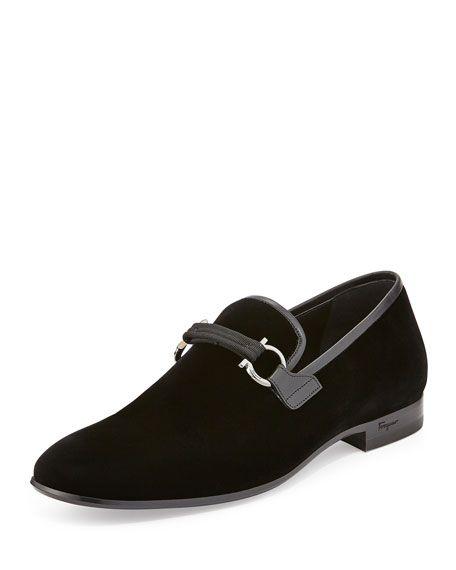 Salvatore Ferragamo Party Velvet Formal Loafer Black