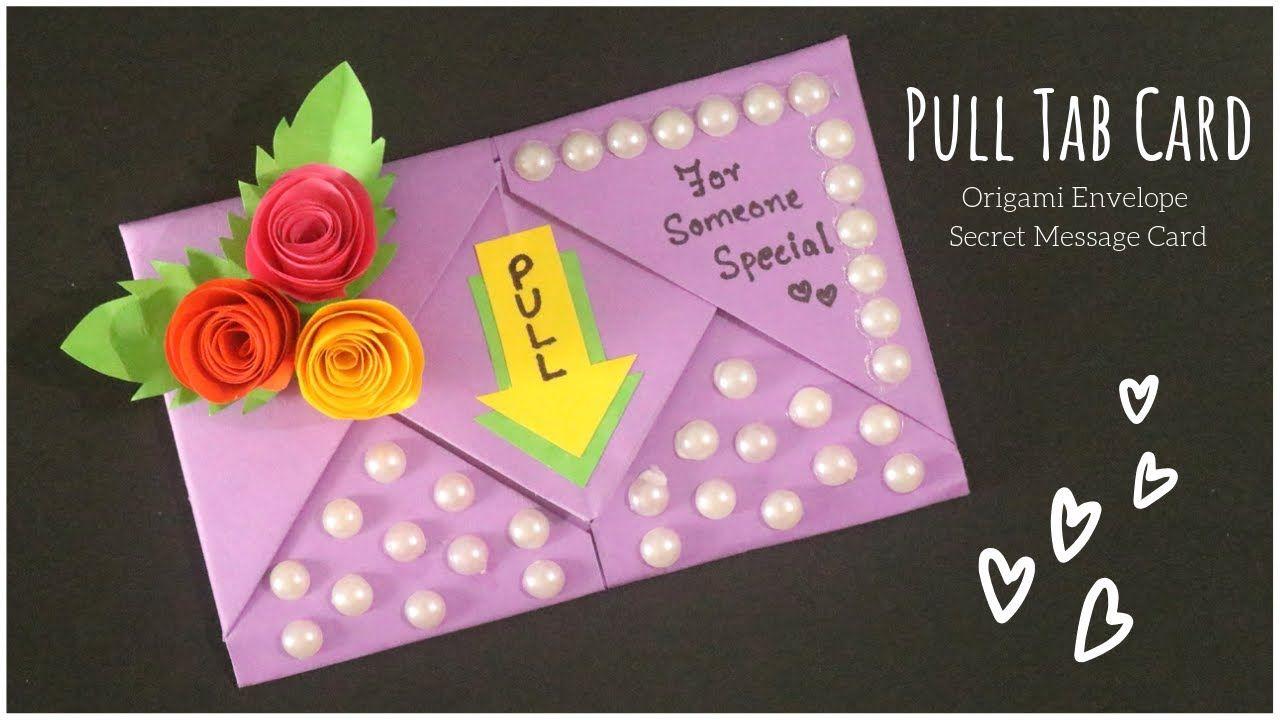 Pull Tab Card Origami Envelope Card Birthday Card Letter Folding Origami Diy Greeting Card Yo Origami Birthday Card Origami Envelope Greeting Cards Diy