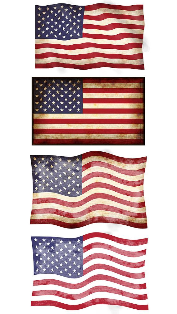 Digital PNG JPG American Flag Clipart 4 Vintage Flags United States National Retro Banners Silhouette Instant Download
