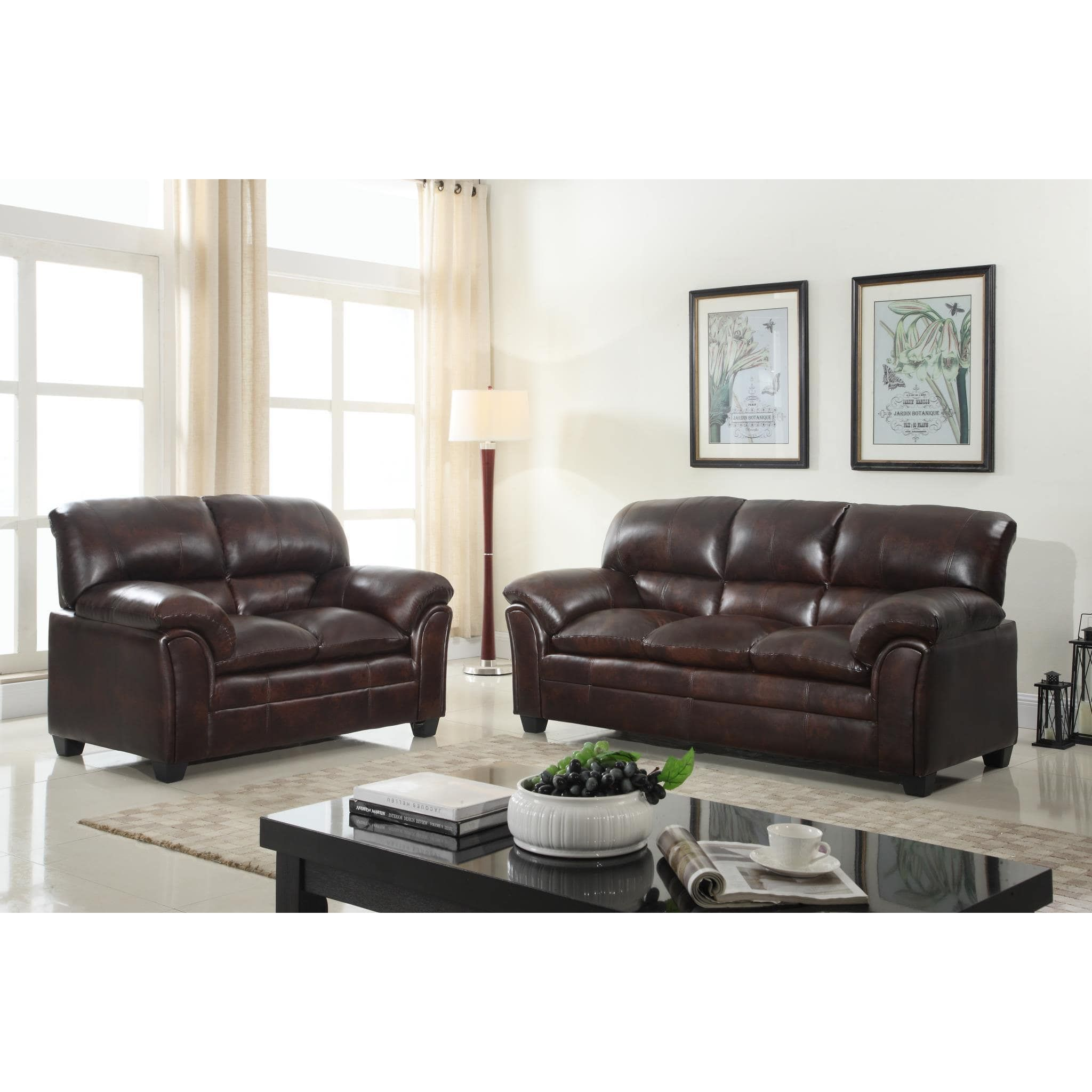 Faux Leather Sofa and Loveseat Living Room Furniture Set (Brown ...