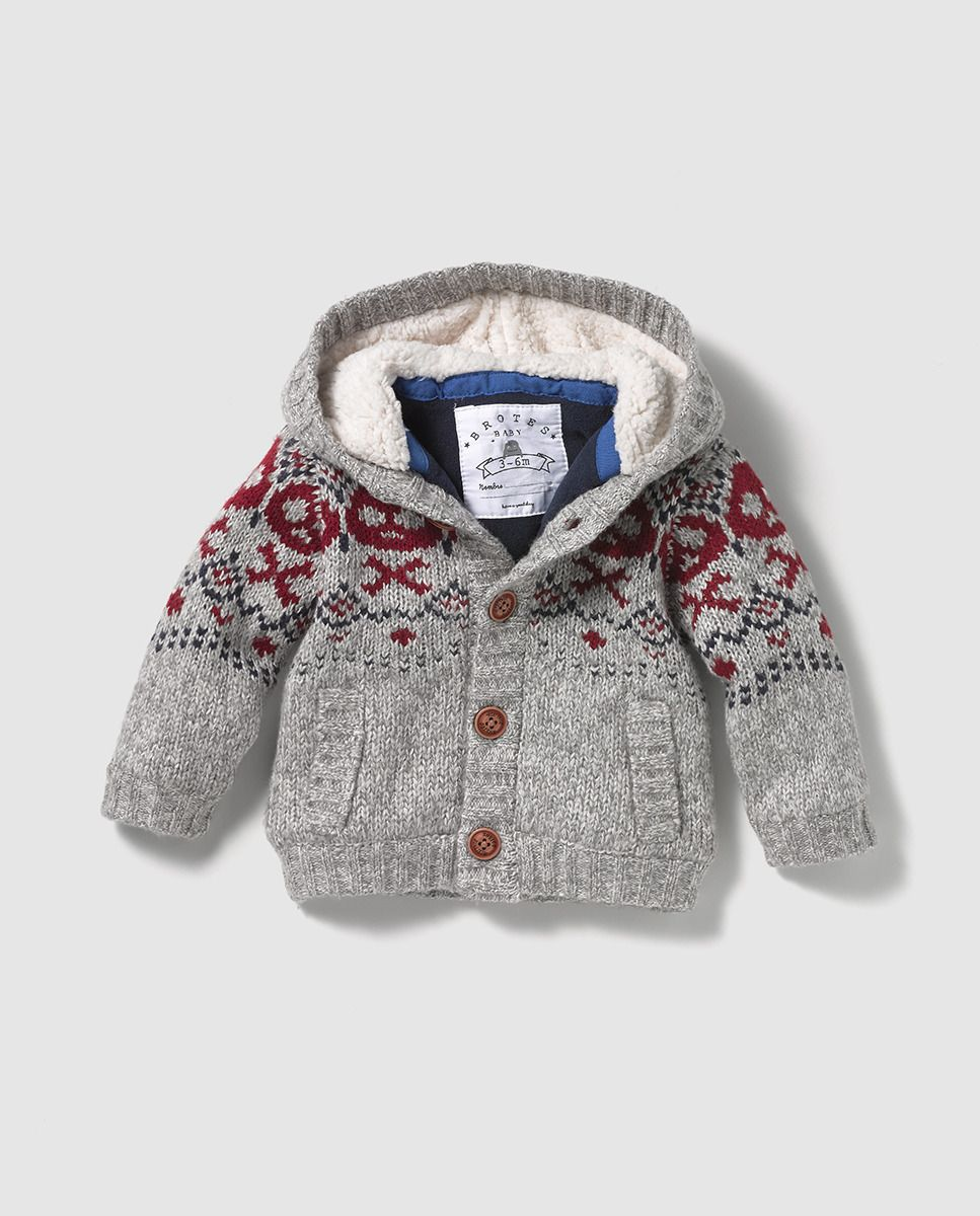 Chaqueta de bebé niño gris con jacquard  293458fd228