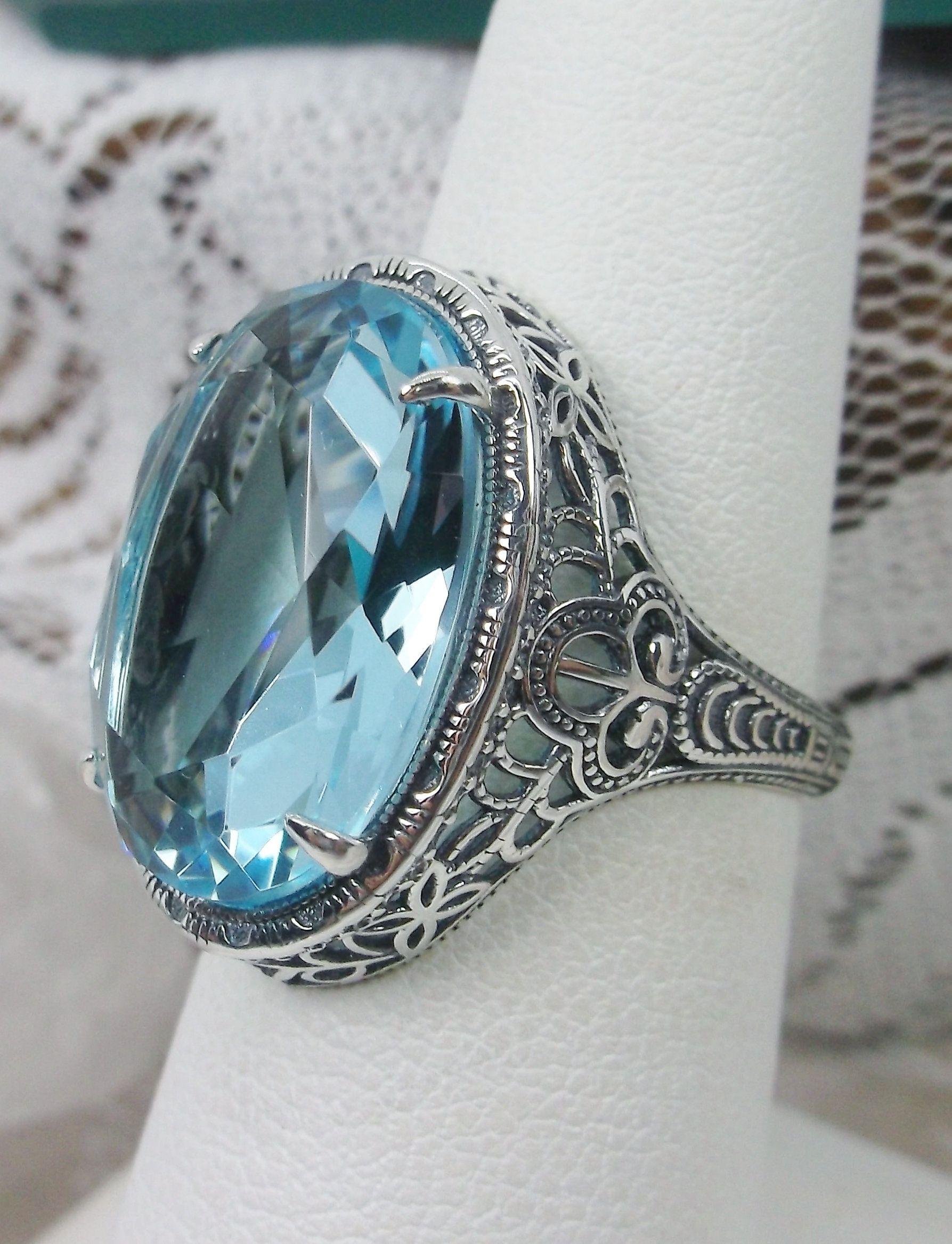 3ct Simulated Aquamarine-Blue Gemstone Solid Sterling Silver WeddingVictorianEdwardian Design Motif Filigree Ring Size 7