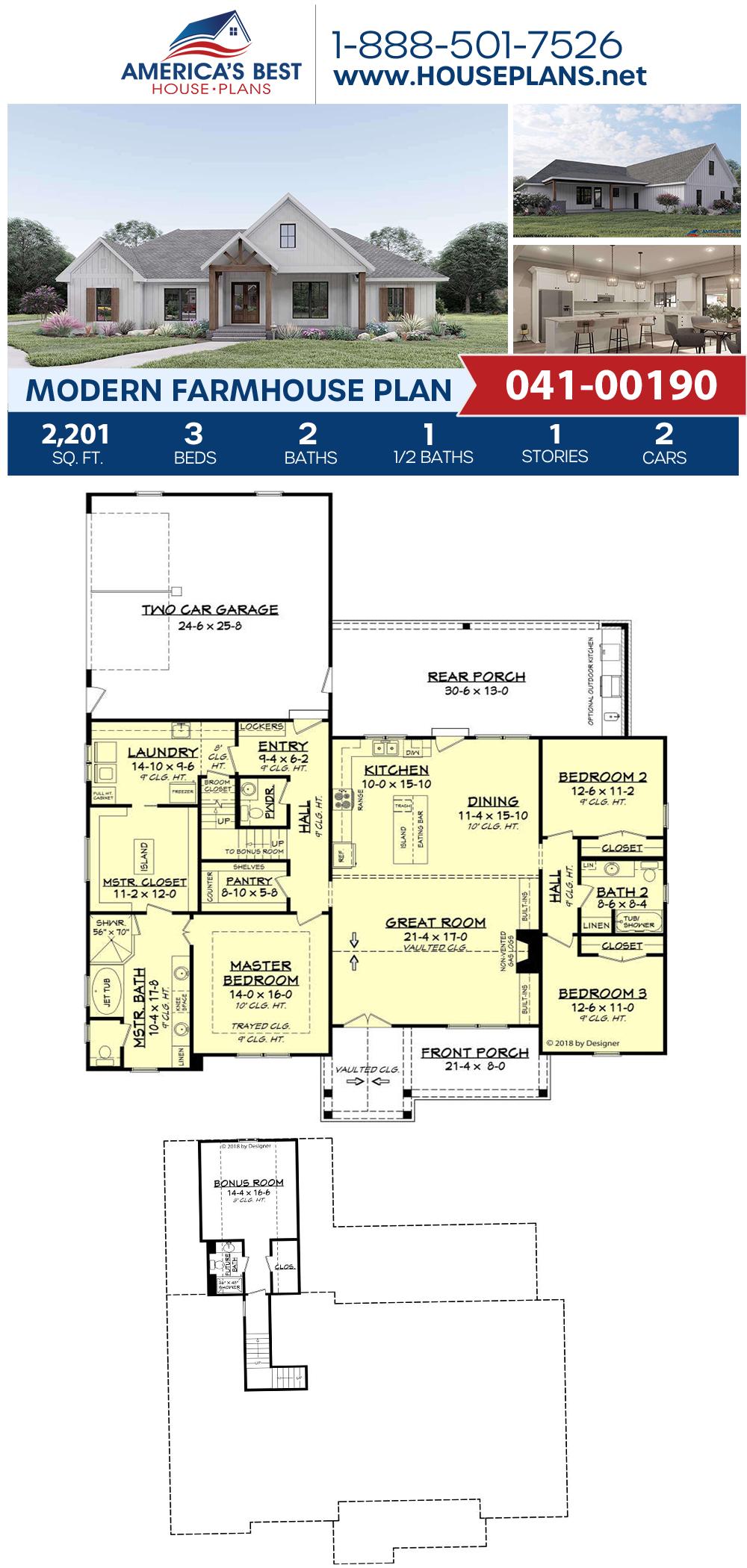 House Plan 041 00190 Modern Farmhouse Plan 2 201 Square Feet 3 Bedrooms 2 5 Bathrooms In 2020 Modern Farmhouse Plans Farmhouse Plans House Plans Farmhouse