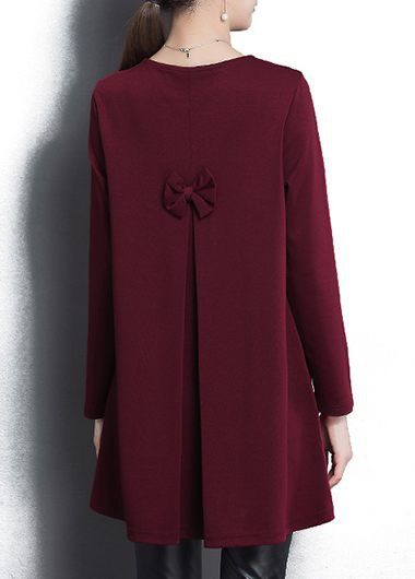 3e690b52f772 Bowknot Embellished Burgundy Long Sleeve T Shirt on sale only US 30.18 now