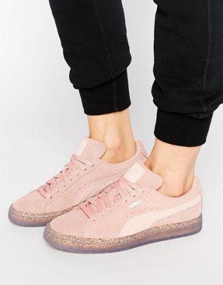 Puma – Klassische Sneakers aus Wildleder in Rosa