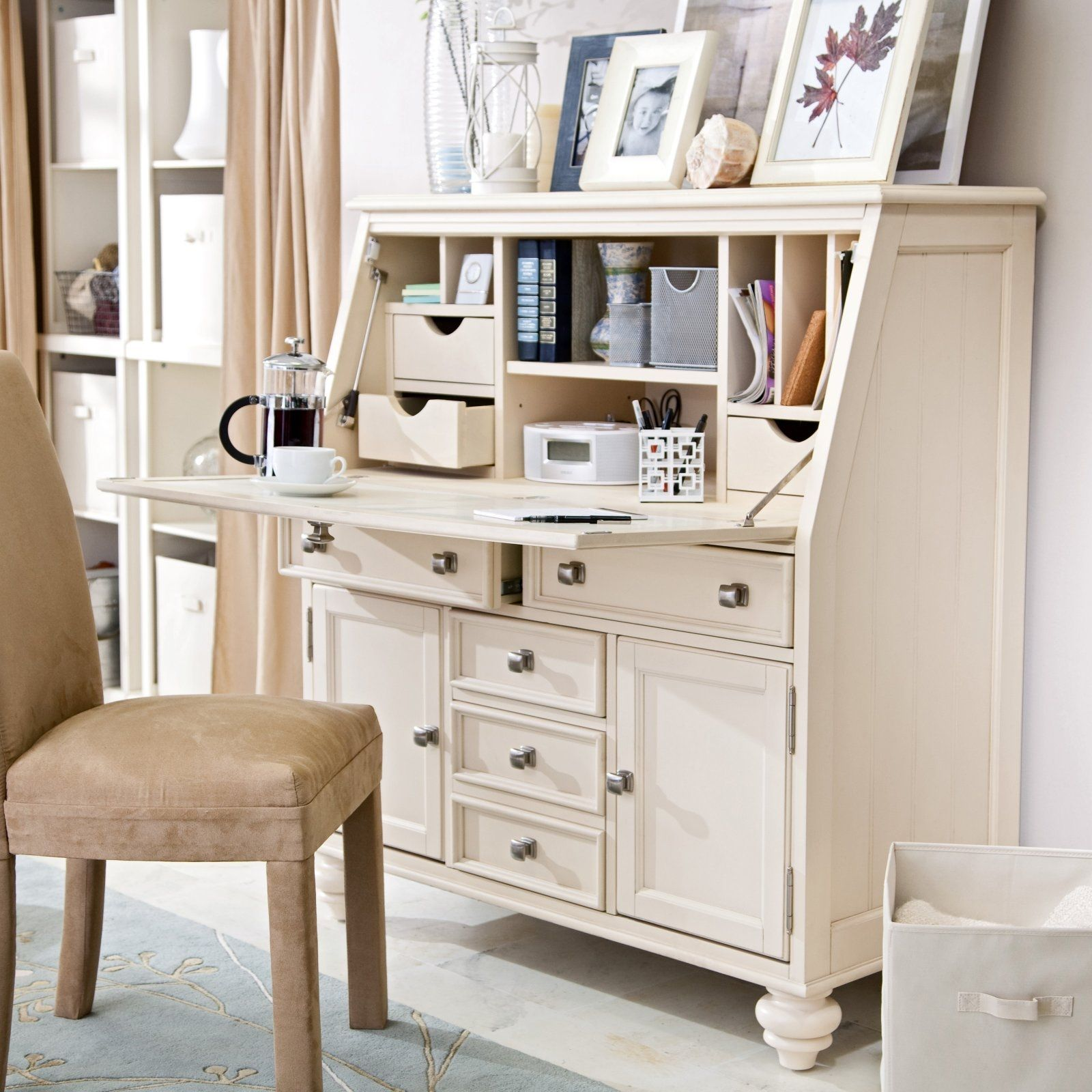 White secretary desk with hutch shocking on modern home for Cool desk ideas