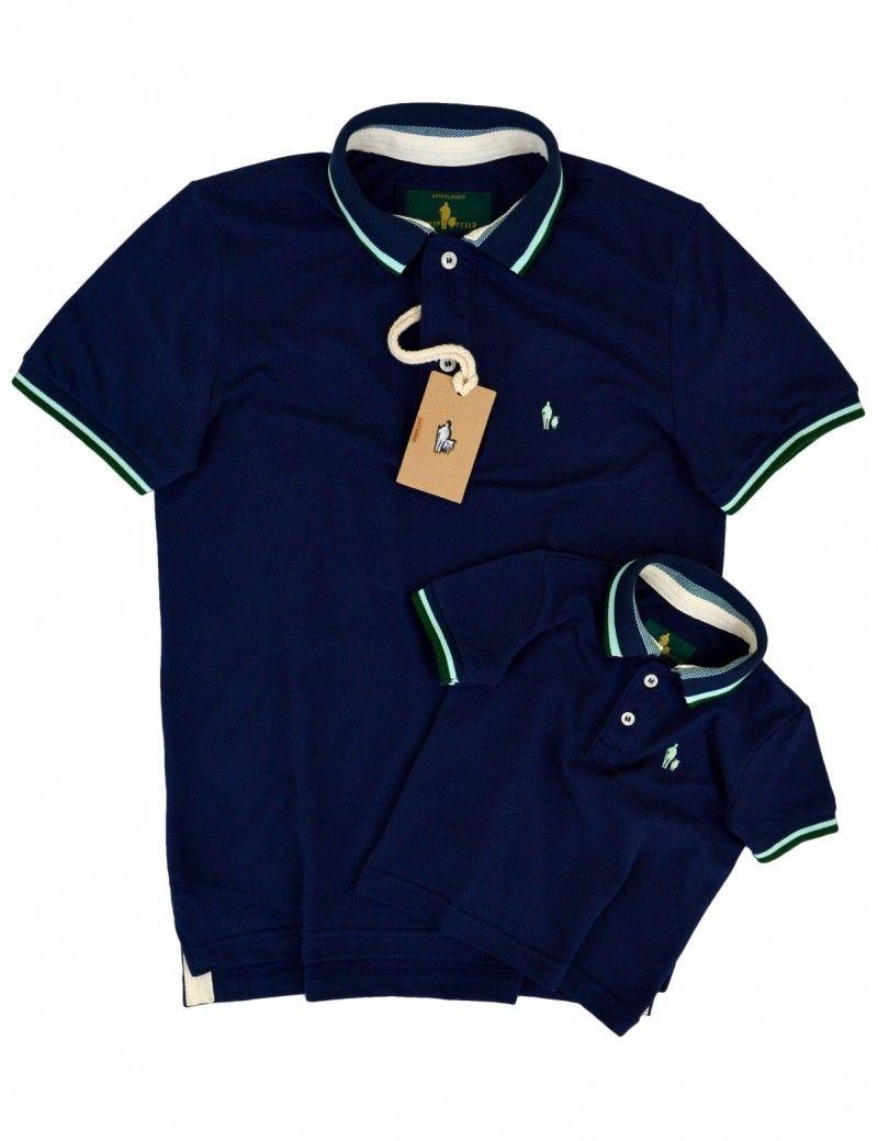 0aa67a01ae Kit Camisa Polo Tal Pai Tal Filho Gola e Punho Listrado (Azul Marinho)
