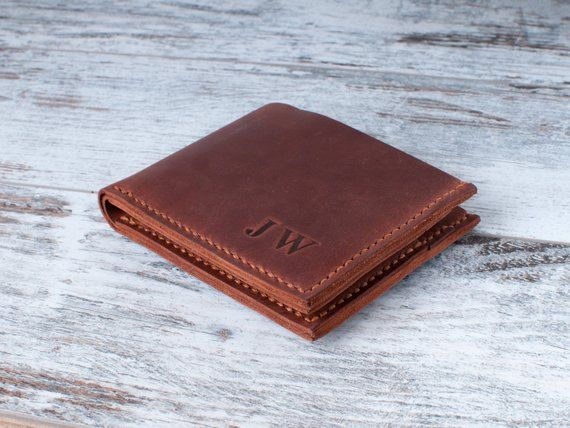 1a77ed2d7cbfd Mens bifold wallet Personalized leather slim wallet man Front pocket  Christmas gift 3rd Anniversary