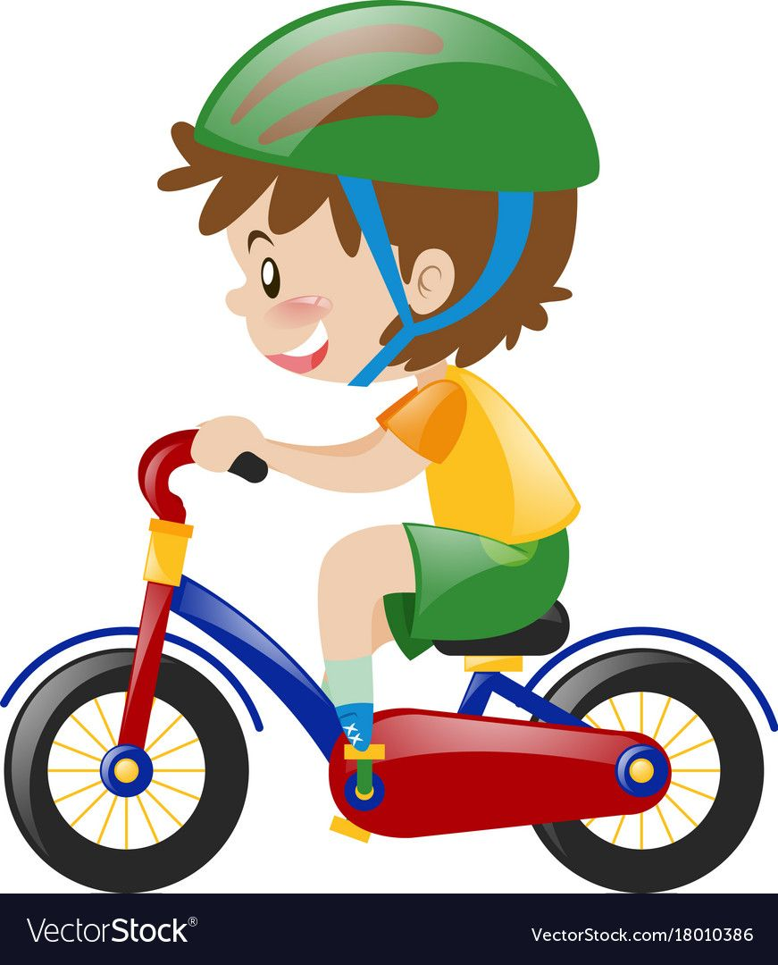 Boy With Green Helmet Riding Bike Vector Image On