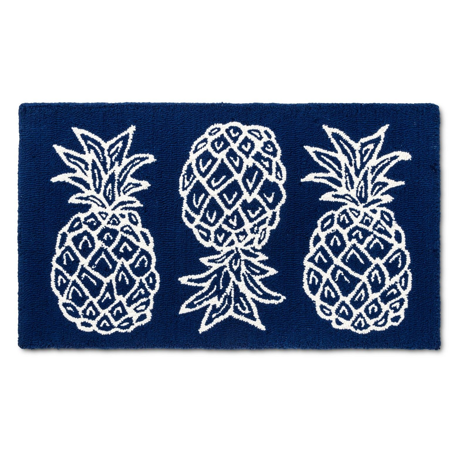 A Great Addition To A Kitchen The Blue Fruit Rugs From Threshold Add Pattern And Style This Pineapple Area Rug Has A Blue Rugs Blue Fruits Kitchen Area Rugs