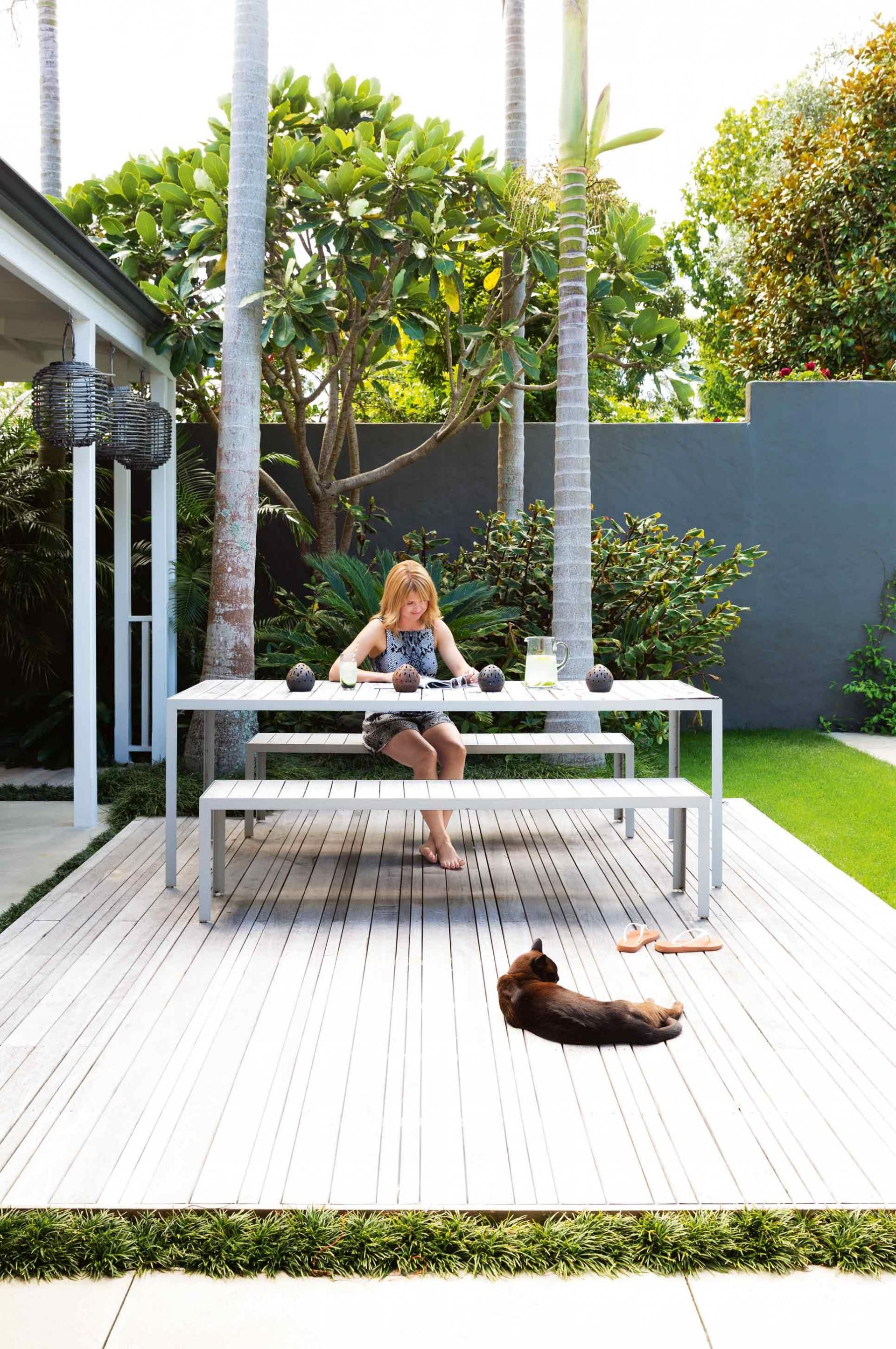 outdoor deck wood decking palm trees outdoor setting