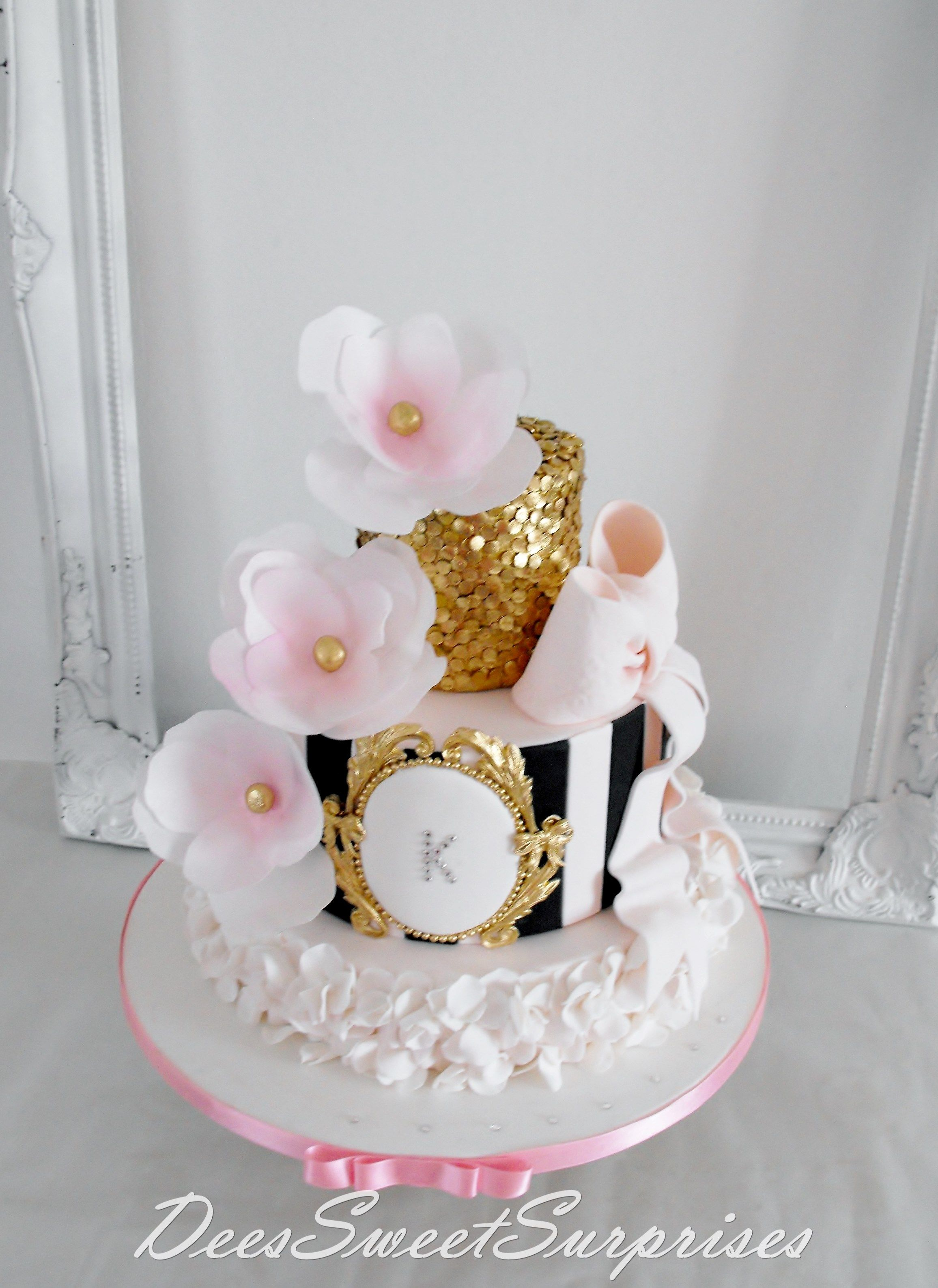 For My Beautiful Daughter Pink Black And Gold Tiered
