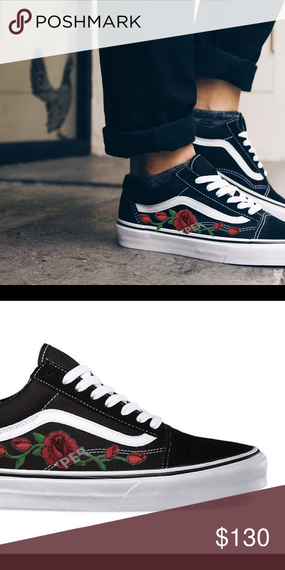 f0cdf837bcc2 Vans Old Skool Embroidered Rose Vine customize your own!! Beautiful sleek  design of vans