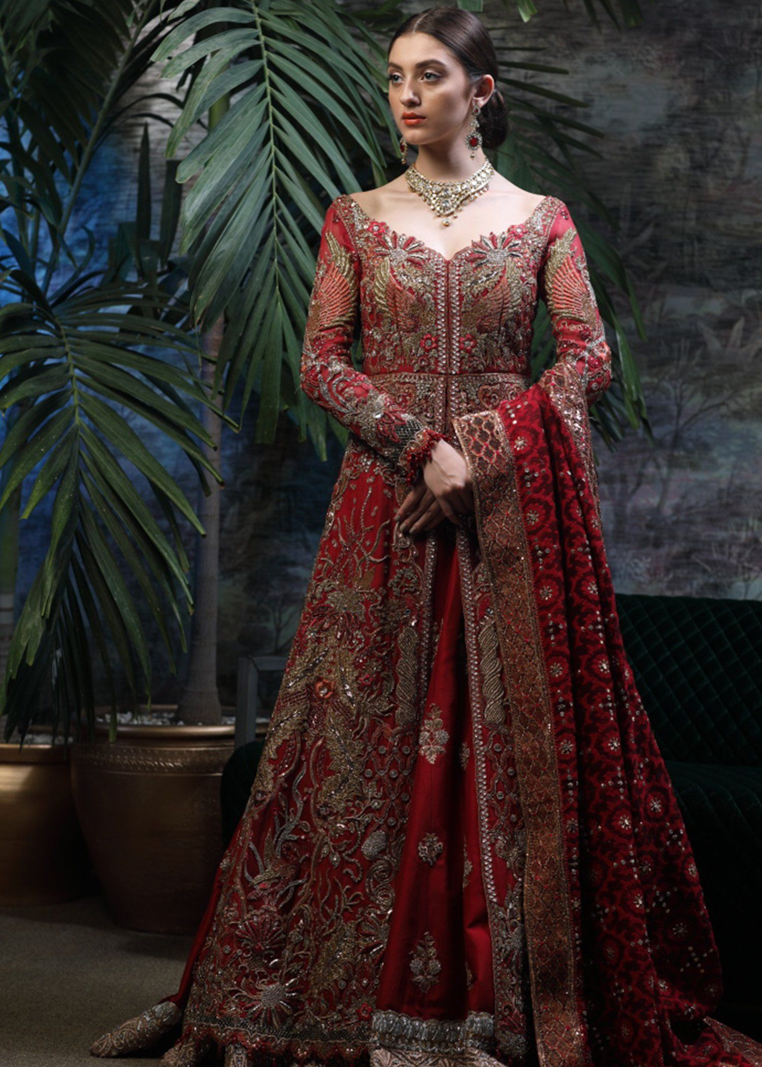 Latest pakistani bridal lehnga in red color for wedding