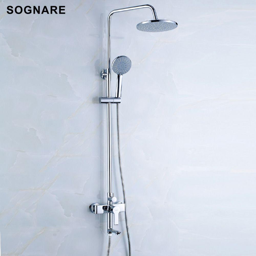 SOGNARE Bathroom Fixtures Rain Shower Faucet Set Bathtub Faucet Waterfall  Rain Shower Head Waterfall Big Rain