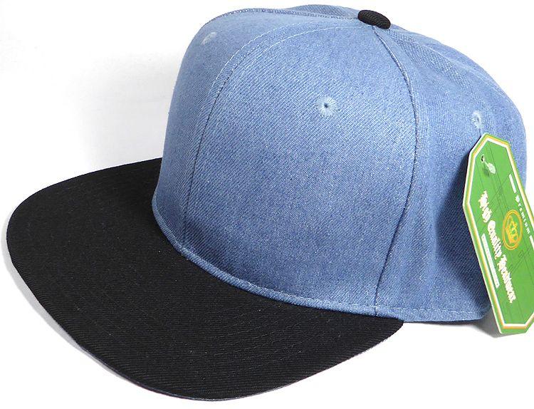 Wholesale Blank Snapback Cap - Denim Medium Jean - Two Tone Black Brim a5a36193b84