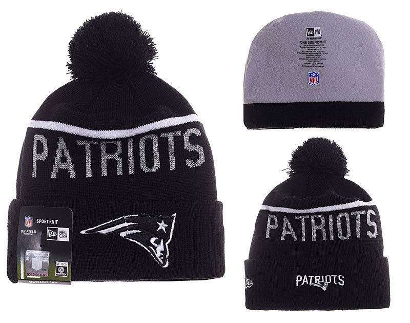 Mens   Womens New England Patriots New Era 2016 NFL Sideline Sport Knit  Beanie Hat With Pom Pom - Black   White de2d2221f1