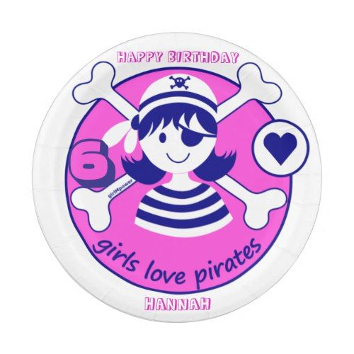 Cute Modern Bright Pink Girl Pirate Paper Plate  sc 1 st  Pinterest & Cute Modern Bright Pink Girl Pirate Paper Plate | Pirate Birthday ...