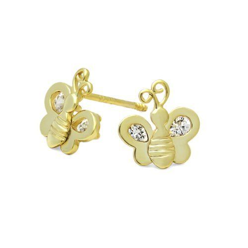 14k Yellow Gold Plated Bee Cz Stud Screw Back Earrings For Babies