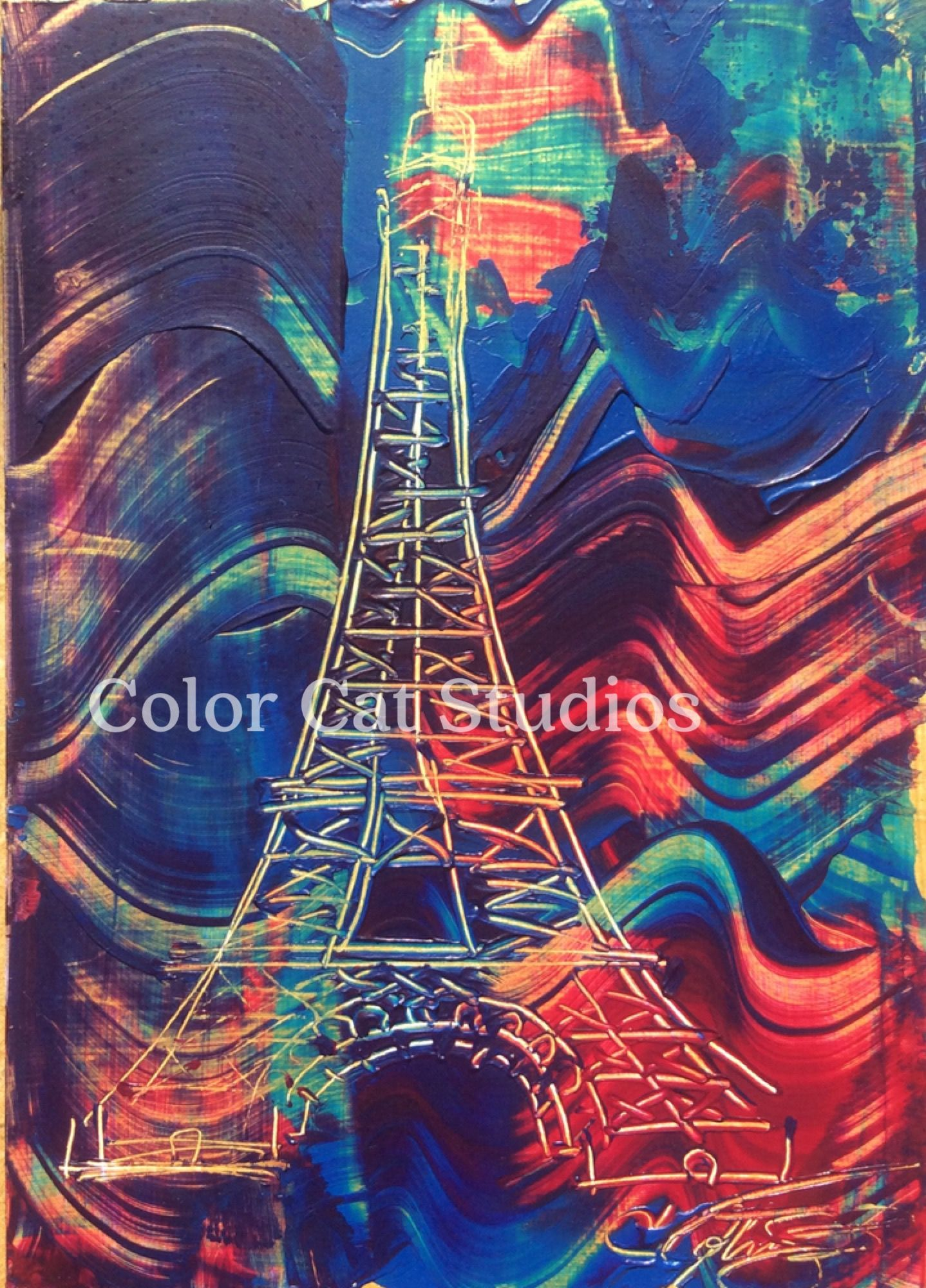 """My #EiffelTower , at a tiny 5""""x7"""", will take you to #Paris ! For sale, colorcatstudios101.etsy.com  #tourd'eiffel"""