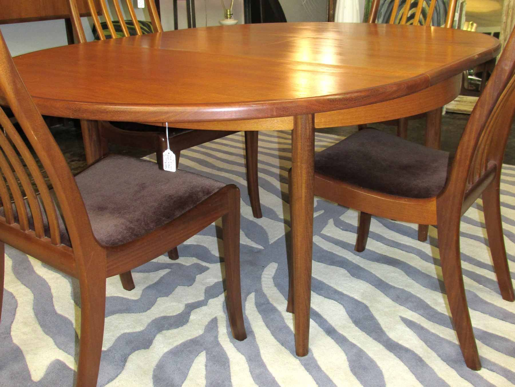 1960 s teak oval dining table with butterfly leaf