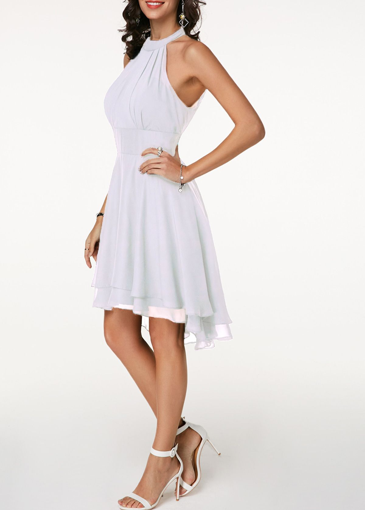 0c497f7f17f815 High Waist Sleeveless Asymmetric Hem White Dress | Rotita.com - USD $31.65