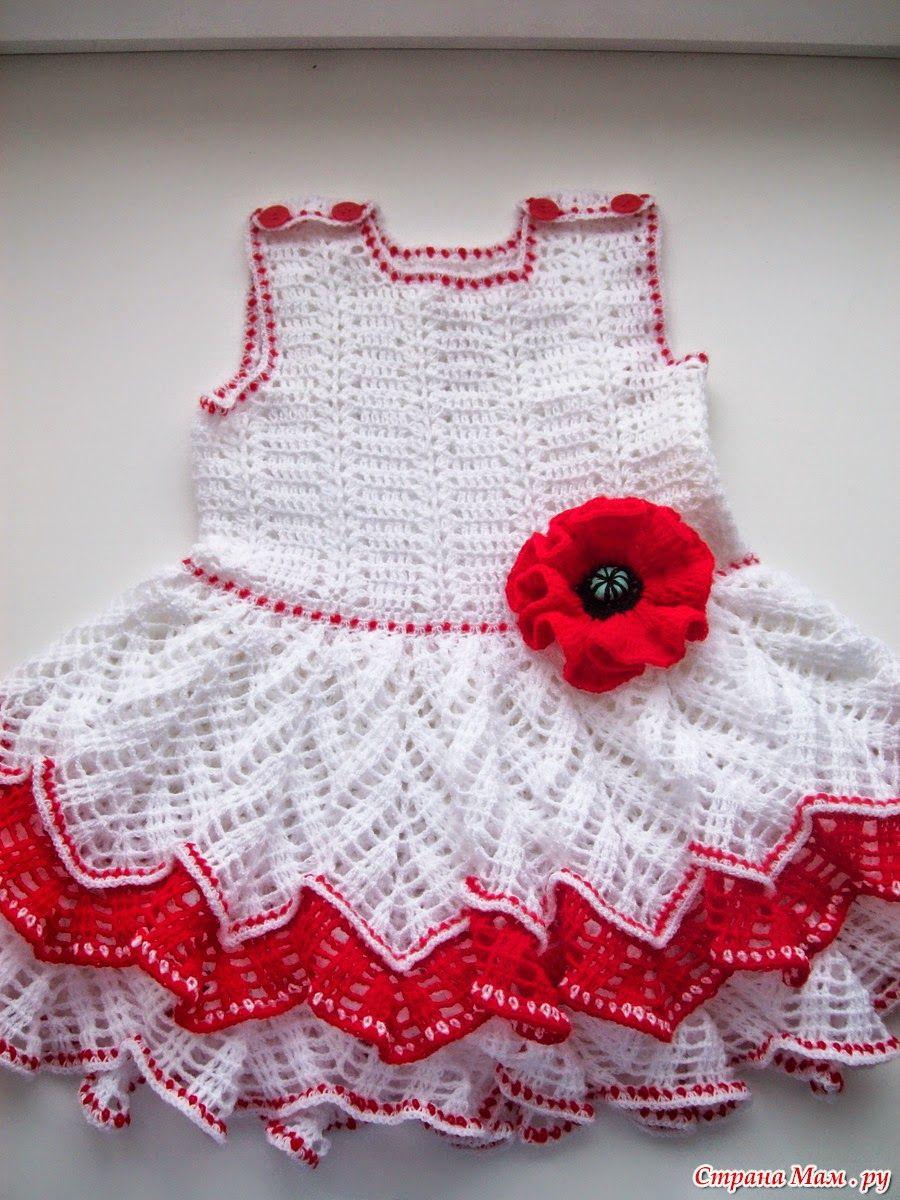 Todo crochet: Bello vestido de niña al crochet | bebes y niños ...