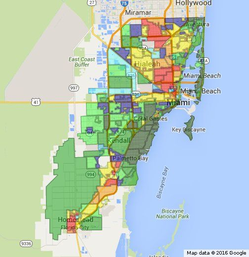 A map guide with all neighborhoods and Cities within Miami-Dade County  rated by quality