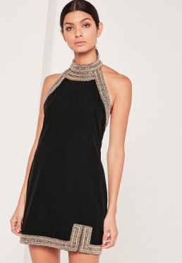 Embellished Neck Detail Halterneck Swing Dress Black