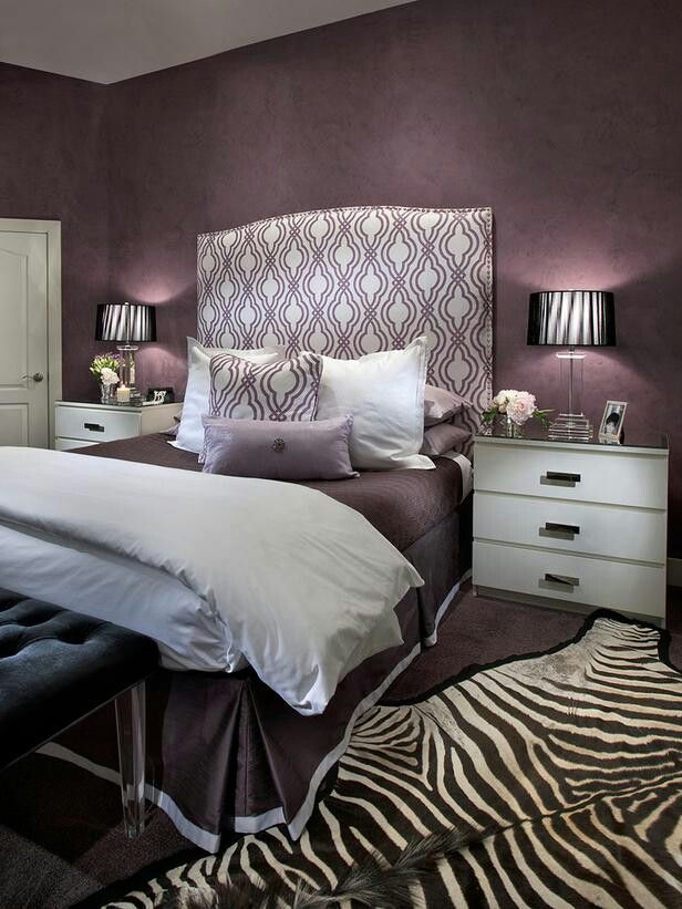 Zebra Purple Bedroom Design Grey