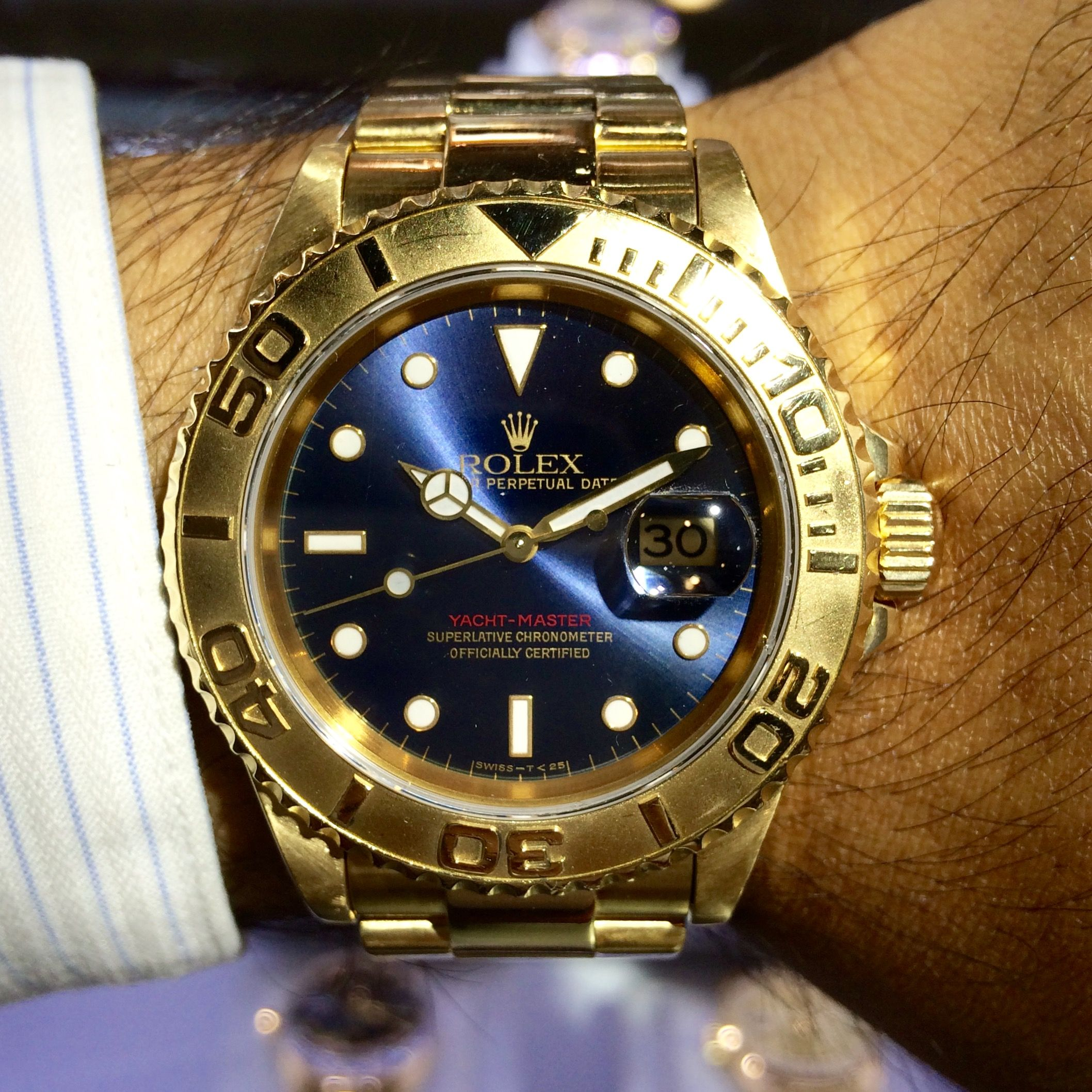 Rolex 16628 Yachtmaster 18k Yellow Gold Blue Dial Watch