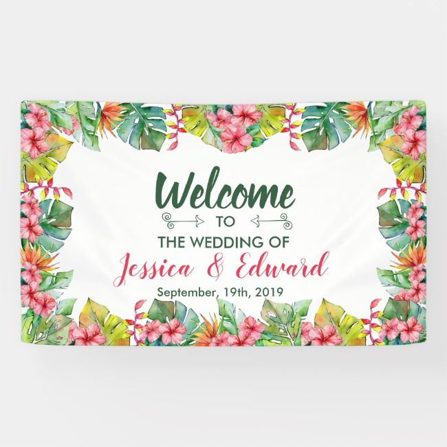 Colorful Tropical Floral Hibiscus Wedding Welcome Banner ...
