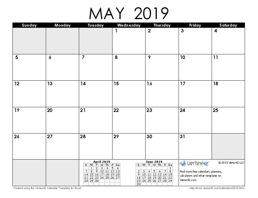 20 2017 Calendar Excel Template Download A Free May 2019 Calendar