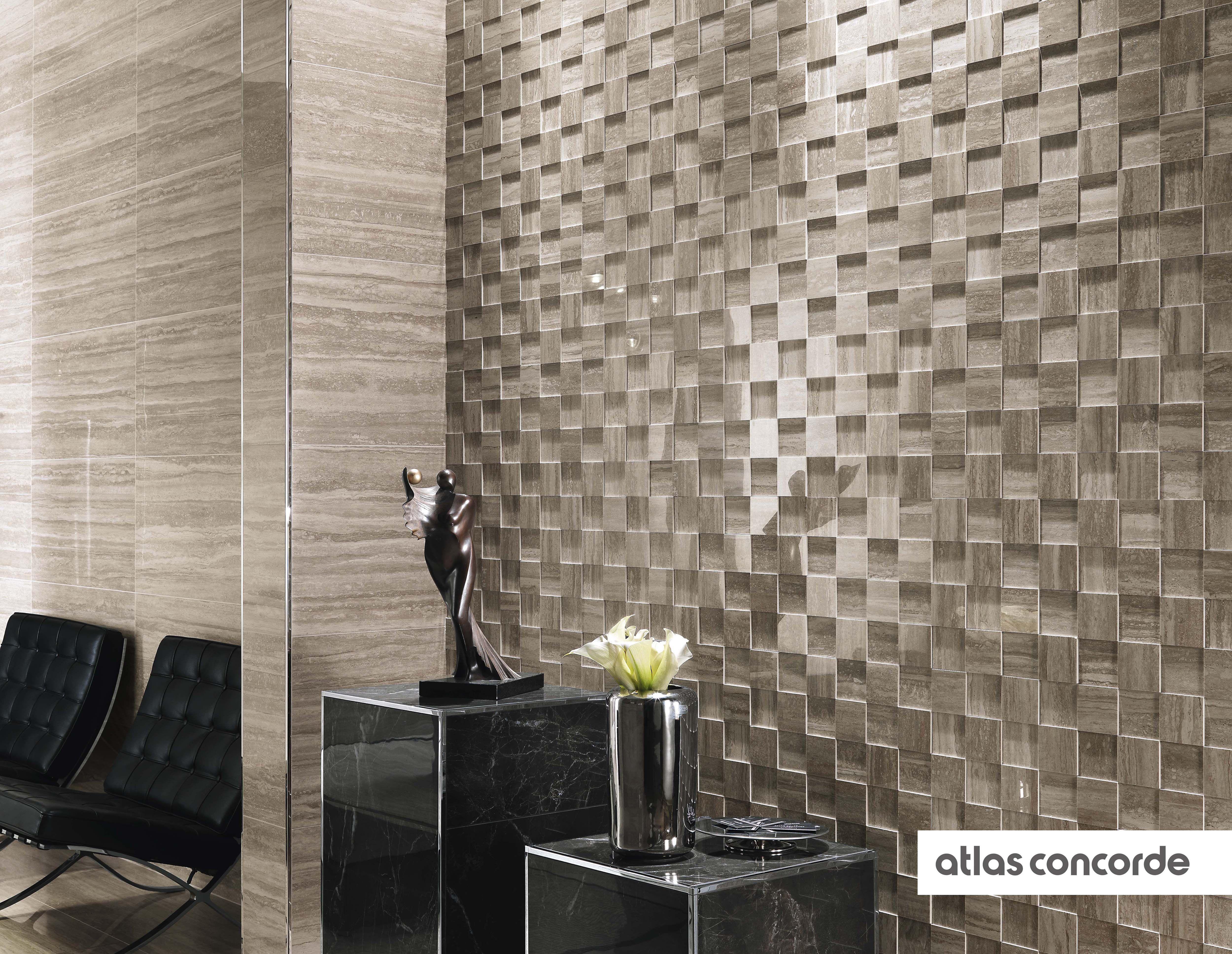 Marvelpro travertino silver mosaico 3d atlasconcorde for Paredes ceramica interiores