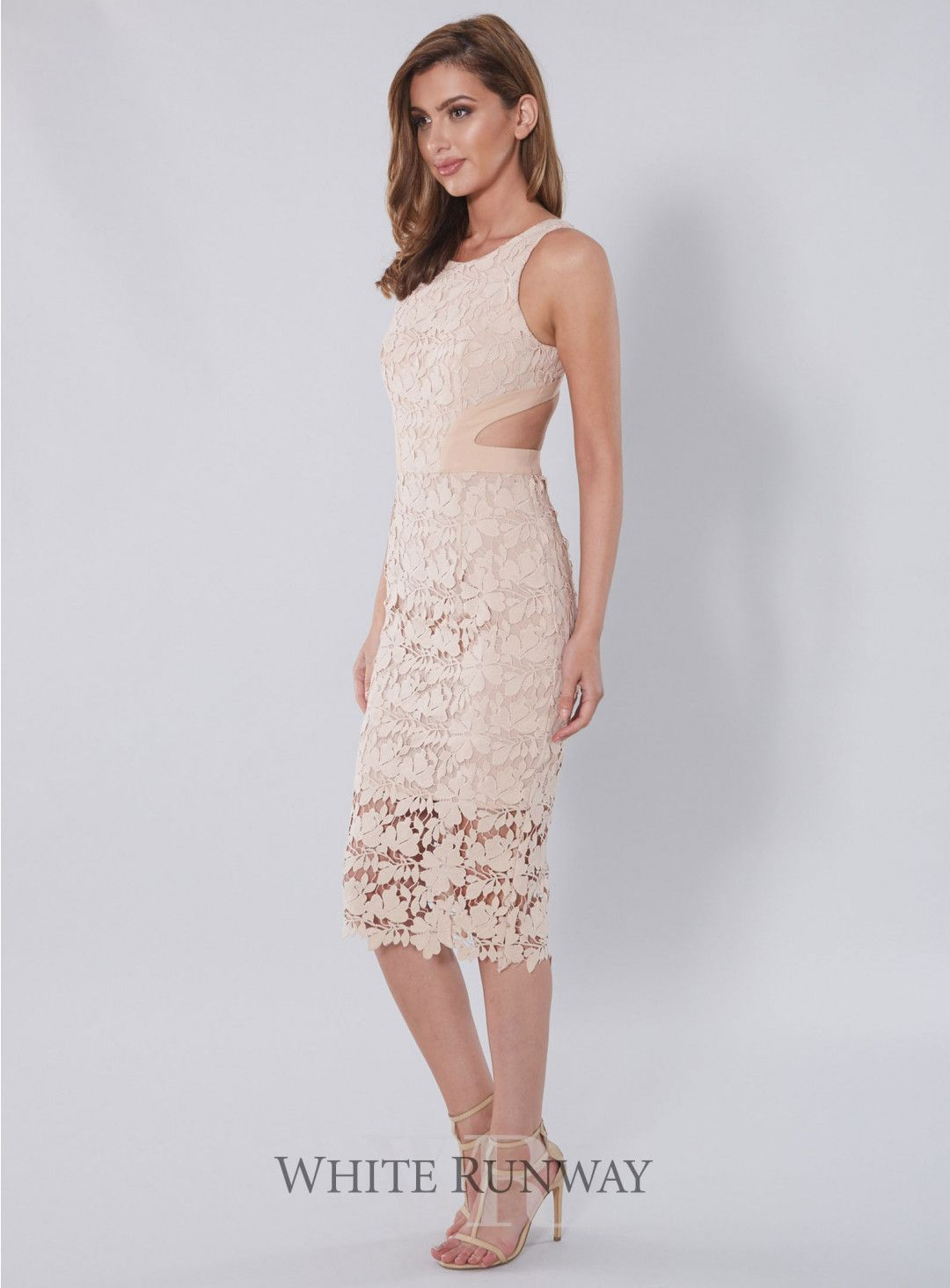 73857be13f51 Amalia Lace Cutout Dress. A stunning dress by White Velvet. An above ankle  fitted dress with cut outs at the waist and an above knee length lining.