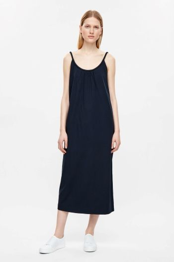 6ddc8bca586c COS image 1 of Jersey dress with cord straps in Navy | blue ...