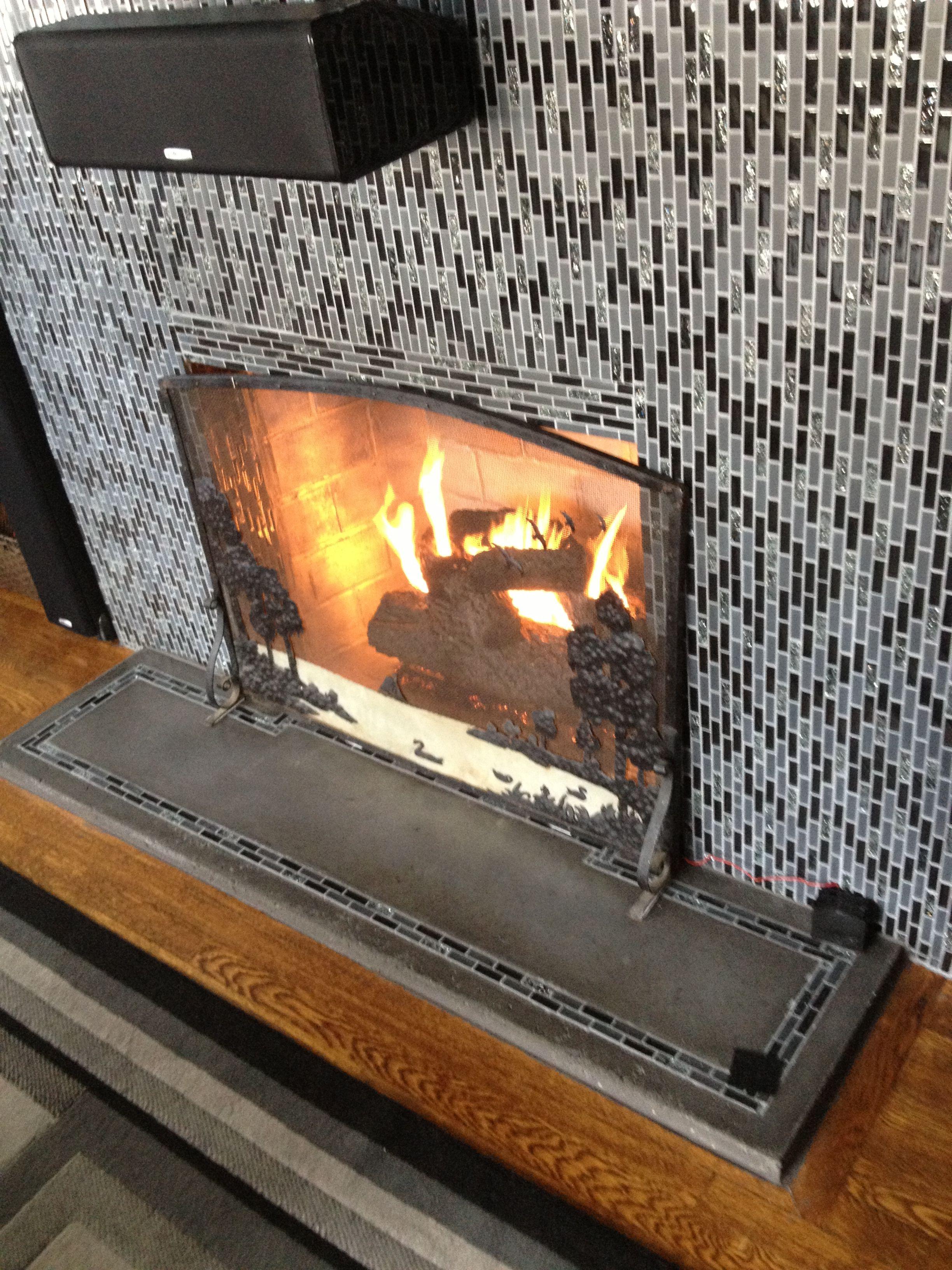 Glass mosaic tile, gas fireplace log, silver high heat spray ...