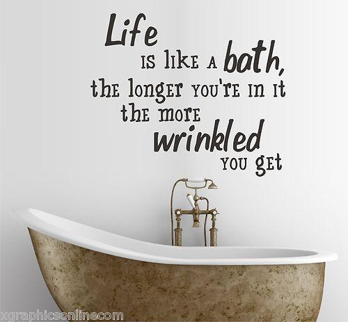 39 life is like a bath 39 wall sticker quote bathroom home decor art kitchen bathroom favorites. Black Bedroom Furniture Sets. Home Design Ideas