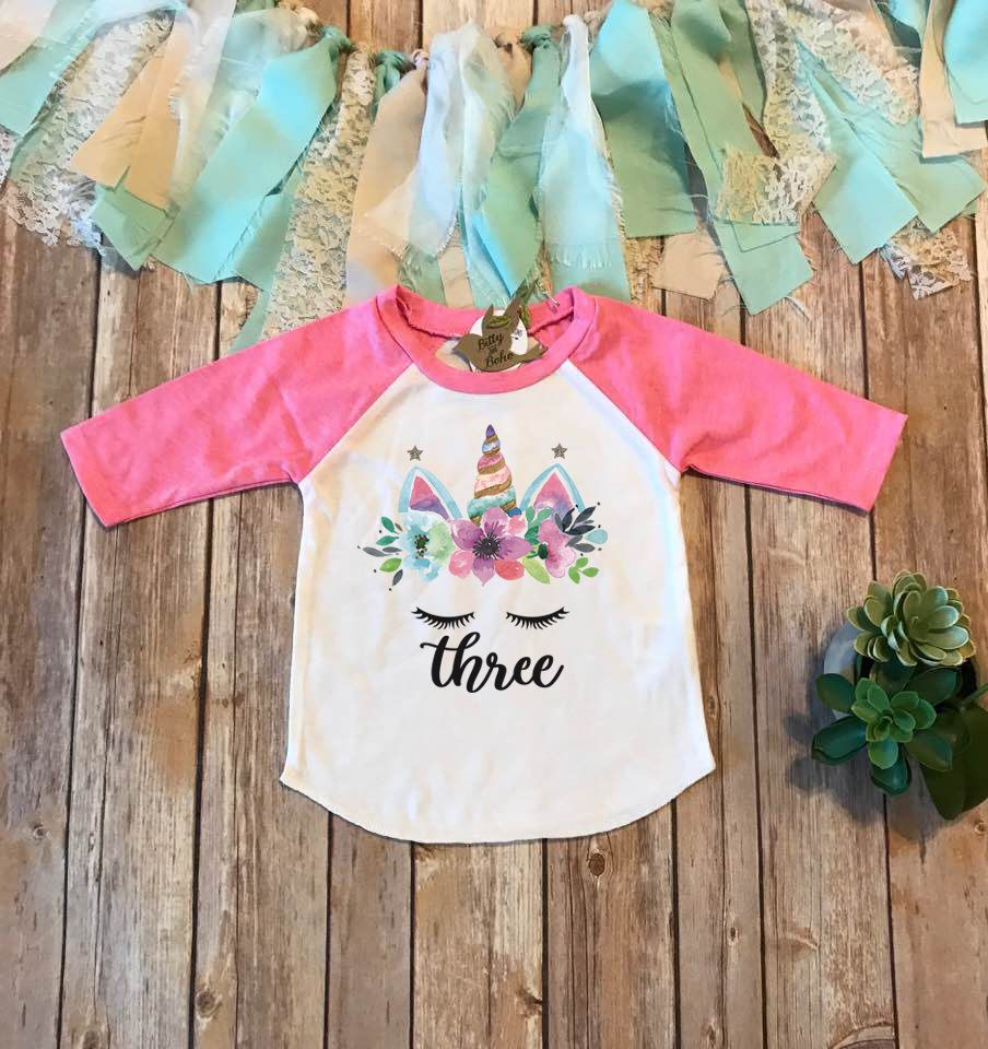 Third Birthday Shirt Floral Unicorn 3rd ShirtThird Outfit