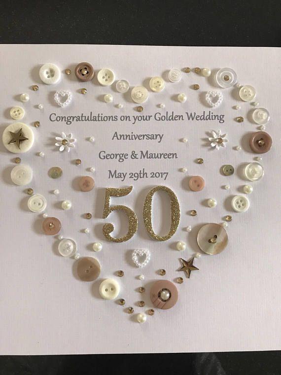 Golden Wedding Anniversary, Button Art Frame, Golden Wedding Anniversary Gift, 50th Anniversary Gift