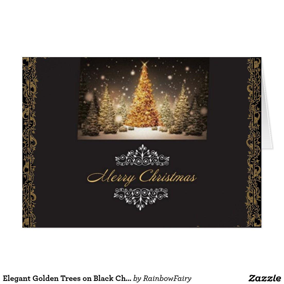 Elegant Golden Trees On Black Christmas Card Season Greeting Cards