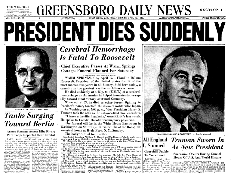 War Daddy Pub April 12 1945 Fdr Dies On This Day In