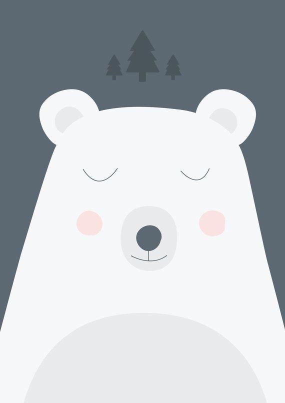 Poster dors joli ours illustration pour chambre par - Illustration chambre bebe ...