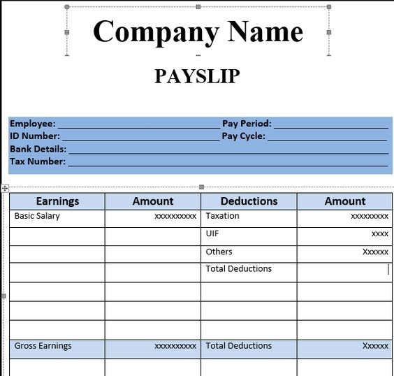 Payslip Template Format In Excel And Word Ideas for the house